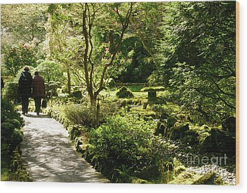 Japanese Garden At Butchart Gardens In Spring Wood Print by Louise Heusinkveld