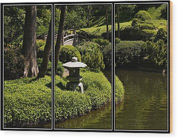 Japanese Garden Triptych Wood Print by Kathy Churchman