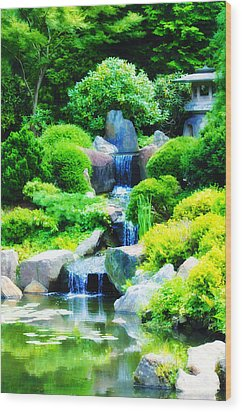 Japanese Garden Waterfall Wood Print by Bill Cannon