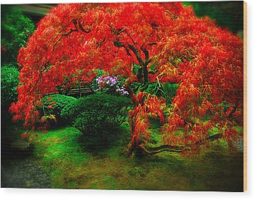 Japanese Gardens Portland Wood Print