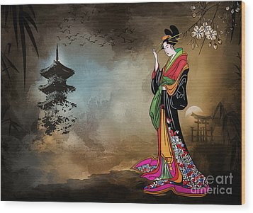 Japanese Girl With A Landscape In The Background. Wood Print