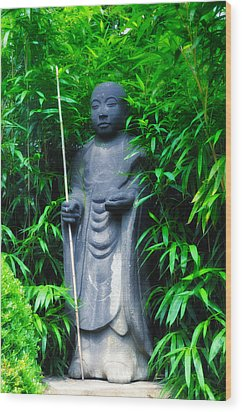 Japanese House Monk Statue Wood Print by Bill Cannon