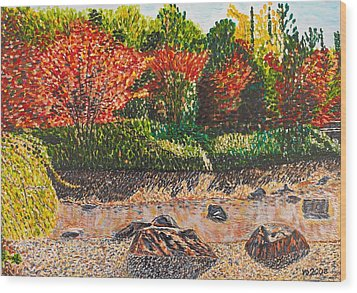 Japanese Maple Trees At The Creek Wood Print by Valerie Ornstein