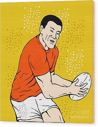 Japanese Rugby Player Passing Ball Wood Print by Aloysius Patrimonio