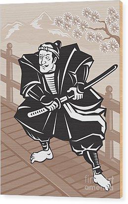 Japanese Samurai Warrior Sword On Bridge Wood Print by Aloysius Patrimonio