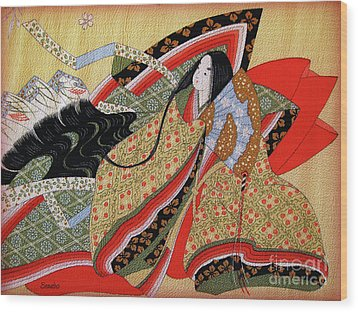 Japanese Textile Art Wood Print by Eena Bo