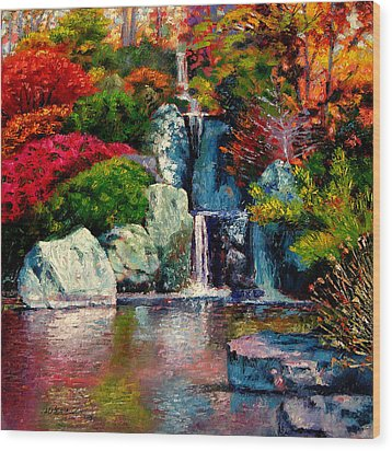 Japanese Waterfall Wood Print by John Lautermilch