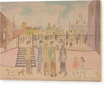 Japanese Whispers In Respect Of Lowry Wood Print by Sawako Utsumi