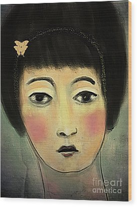 Wood Print featuring the digital art Japanese Woman With Butterflies by Alexis Rotella