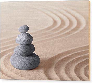 Japanese Zen Meditation Garden Wood Print