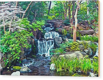 Japanese Waterfall Garden Wood Print