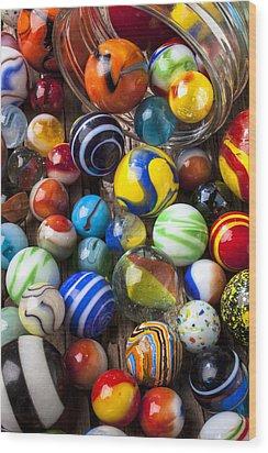 Jar Of Marbles Wood Print by Garry Gay