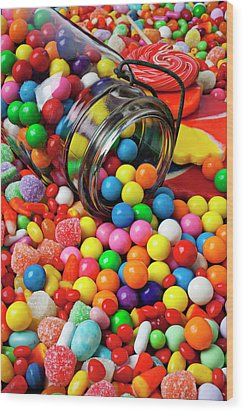 Jar Spilling Bubblegum With Candy Wood Print by Garry Gay