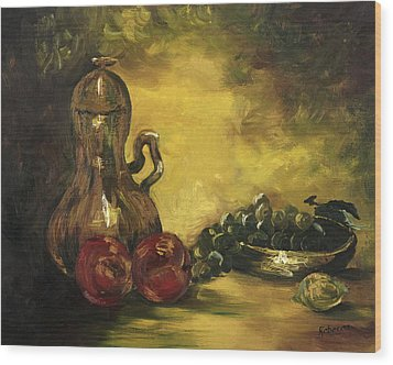 Wood Print featuring the painting Jar With Fruit by Rebecca Kimbel