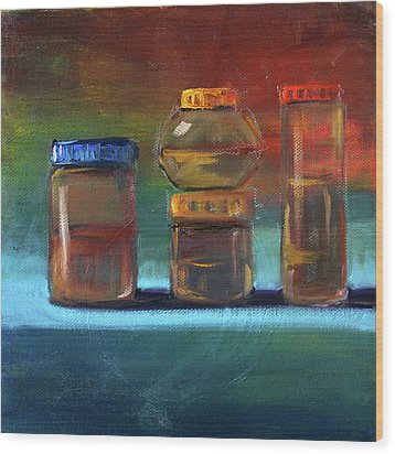 Wood Print featuring the painting Jars Still Life Painting by Nancy Merkle