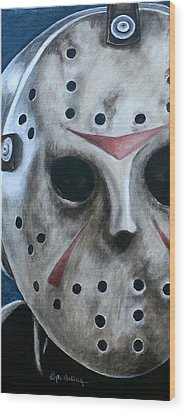 Wood Print featuring the painting Jason Up Close And Personal  by Al  Molina
