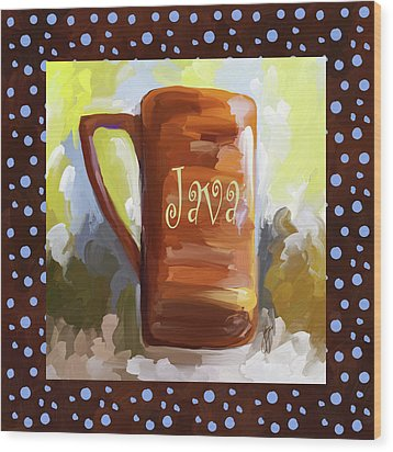 Java Coffee Cup With Blue Dots Wood Print by Jai Johnson