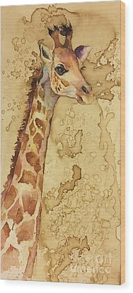 Wood Print featuring the painting Java Giraffe by Christy Freeman