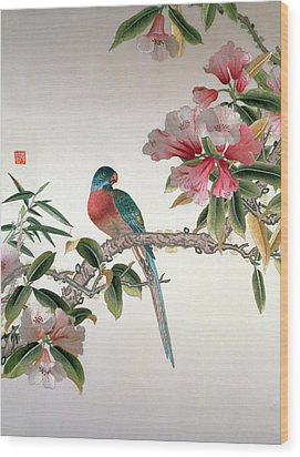 Jay On A Flowering Branch Wood Print by Chinese School
