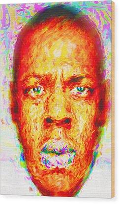 Jay-z Shawn Carter Digitally Painted Wood Print by David Haskett