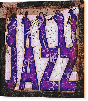 Jazz Abstract Wood Print by David G Paul