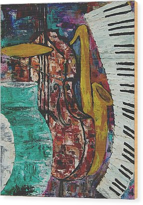 Jazz Wood Print by Andrea Vazquez-Davidson