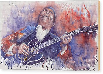 Jazz B B King 05 Red Wood Print by Yuriy  Shevchuk