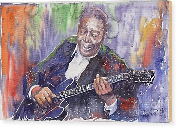 Jazz B B King 06 Wood Print by Yuriy  Shevchuk