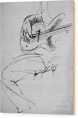 Jazz Bass Guitarist Wood Print by Jamey Balester
