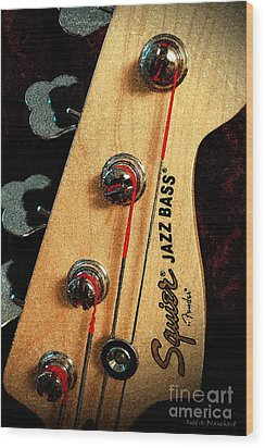 Jazz Bass Headstock Wood Print by Todd A Blanchard
