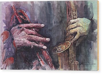 Jazz Batle Of Improvisation Wood Print by Yuriy  Shevchuk