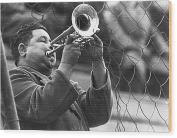 Wood Print featuring the photograph Jazz Behind A Fence by Emanuel Tanjala