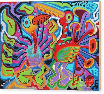 Jazz Birds Wood Print by Ed Tajchman