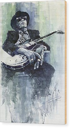 Jazz Bluesman John Lee Hooker 04 Wood Print by Yuriy  Shevchuk