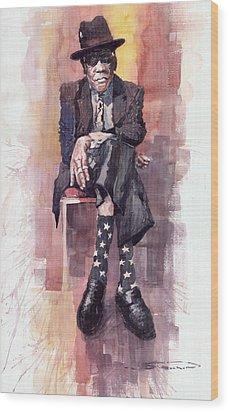 Jazz Bluesman John Lee Hooker Wood Print by Yuriy  Shevchuk