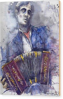 Jazz Concertina Player Wood Print by Yuriy  Shevchuk