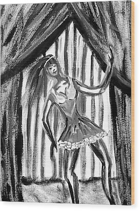 Jazz Dancer In Black  And White Wood Print by BJ Abrams