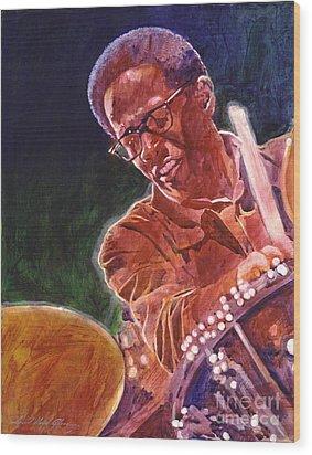 Jazz Drummer Brian Blades Wood Print by David Lloyd Glover
