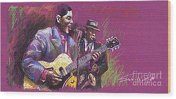 Jazz Guitarist Duet Wood Print
