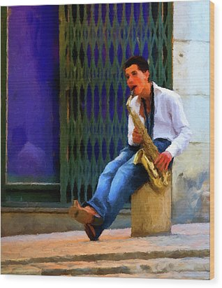 Wood Print featuring the photograph Jazz In The Street by David Dehner