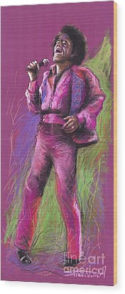 Jazz James Brown Wood Print