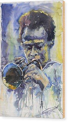 Jazz Miles Davis 12 Wood Print by Yuriy  Shevchuk
