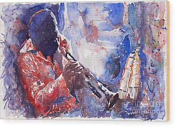 Jazz Miles Davis 15 Wood Print by Yuriy  Shevchuk