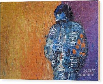 Jazz Miles Davis 2 Wood Print by Yuriy  Shevchuk