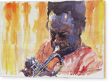 Jazz Miles Davis 8 Wood Print by Yuriy  Shevchuk