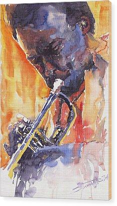Jazz Miles Davis 9 Red Wood Print by Yuriy  Shevchuk