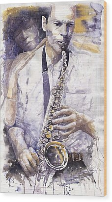 Jazz Muza Saxophon Wood Print by Yuriy  Shevchuk