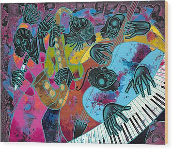 Jazz On Ogontz Ave. Wood Print by Larry Poncho Brown