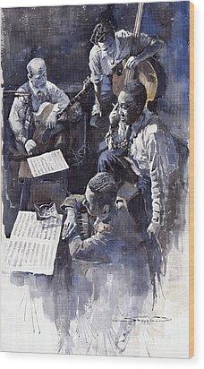Jazz Parker Tristano Bauer Safransky Rca Studio Ny 1949 Wood Print by Yuriy  Shevchuk