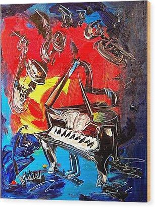 Jazz Piano Wood Print by Mark Kazav